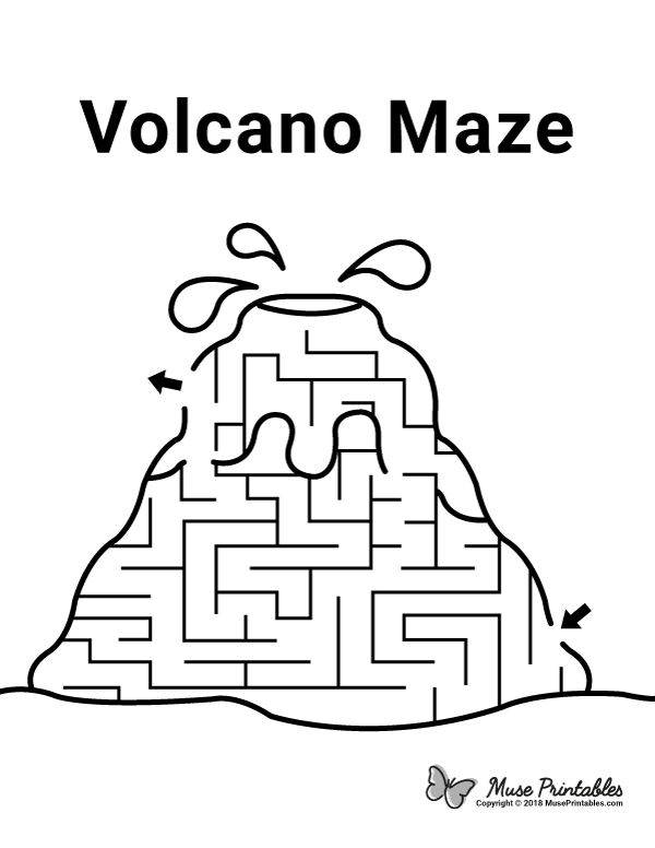 graphic regarding Printable Mazes for Kindergartners titled Pin by means of Muse Printables upon Mazes Volcano for youngsters, Volcano