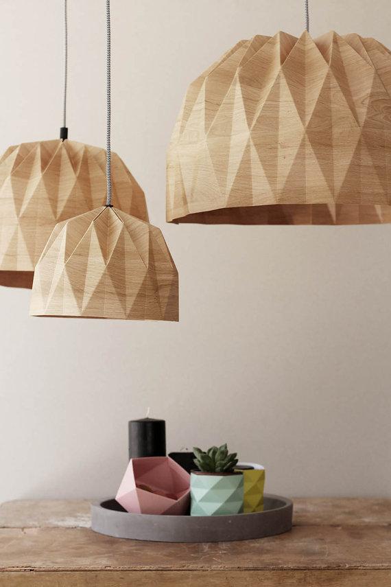 Xl Origami Lampe Xl Wood Print Hangen Von Tweelingenhomedecor Papierlampenschirm Origami Lampe Und Origami Mobel