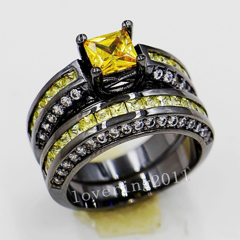 choucong Lovers Engagement 6mm Yellow Stone 5A Zircon stone 10KT