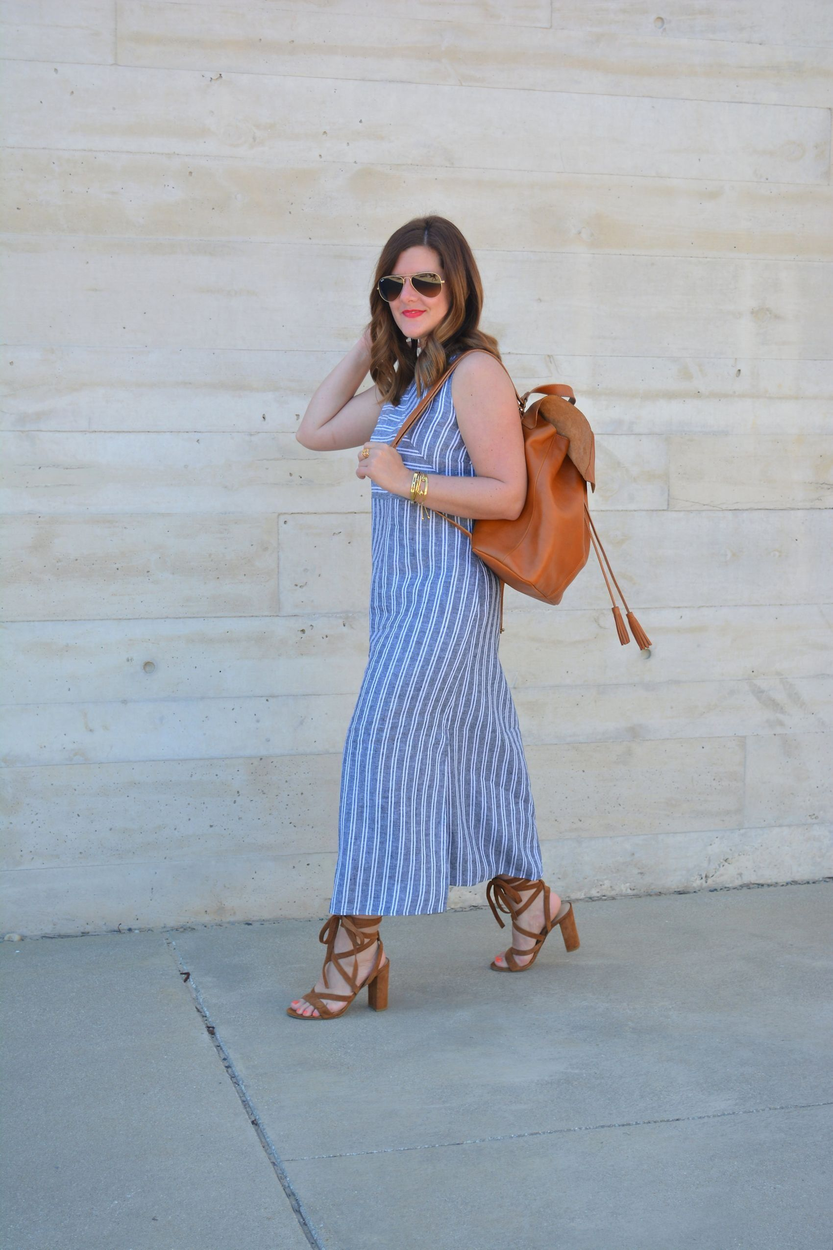 aa60fcfbad Anna from  annabaun in her J.Jill long striped linen dress and her J.Jill  leather backpack.