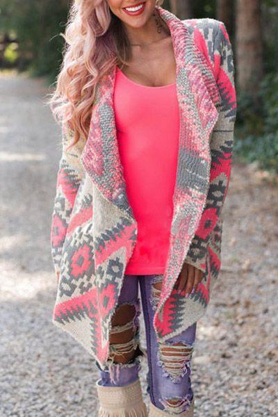 a0ff3e85d Stylish Long Sleeve Turn-Down Collar Geometric Print Women s ...