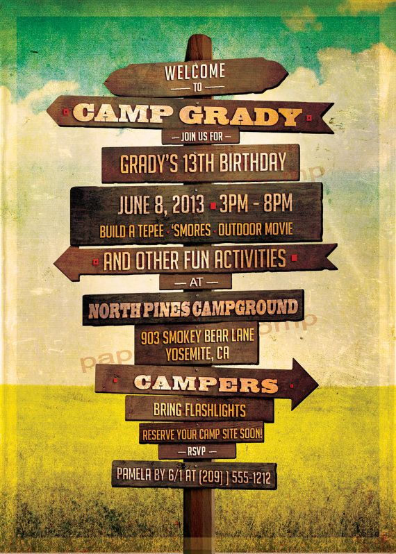 Camping Birthday Invitation Rustic Sign Posts Wedding ...