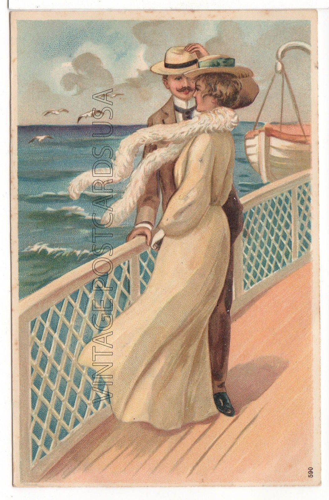 Gorgeous Couple On Board a Ship Vintage Postcard | eBay