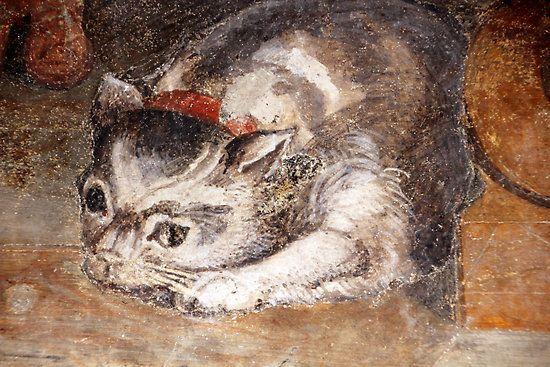 Alessandro di Cristofano di Lorenzo del Bronzino Allori (Italia, 1535-1607). Tabby Cat at The Last Supper