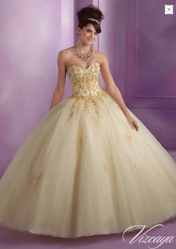 00da23c31a1 Be our guest and make your selection from these gorgeous tulle and satin  Belle of the gown type of Quinceanera dresses!