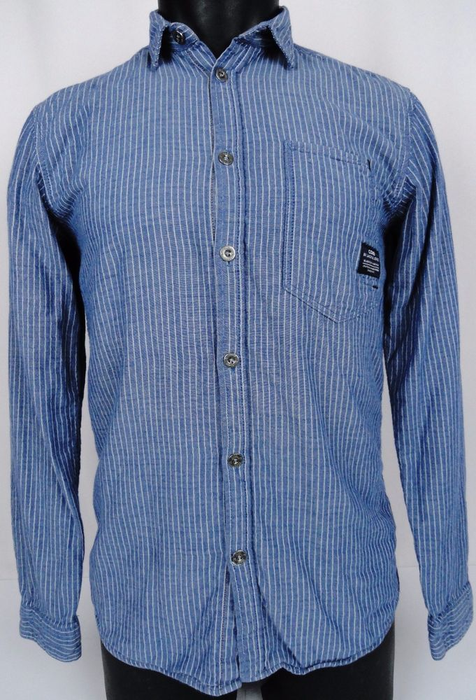 3aa7a03338 Jack   Jones Shirt Mens Small Denim Blue Striped Core Deadstock Button  Front LS  JACKJONES  ButtonFront