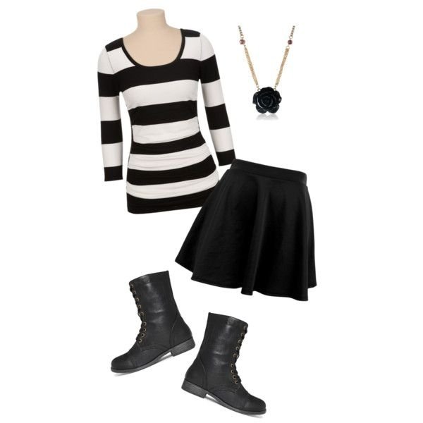 B&W Skater skirt outfit
