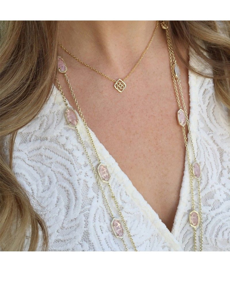 Kellie Long Necklace In Rose Quartz Rosy Pink Stones Add