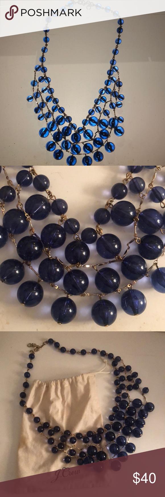 J.Crew Statement Necklace J.Crew Statement Necklace Blue beaded balls J. Crew Jewelry Necklaces