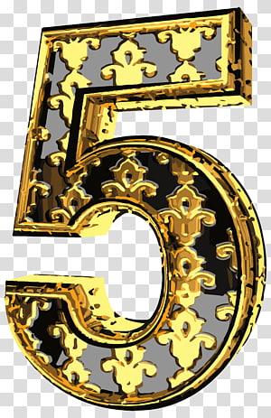 Gold And Black 5 Illustration Elegant Vintage Number Five Transparent Background Png Clipart Art Images Vintage Numbers Mirror Illustration
