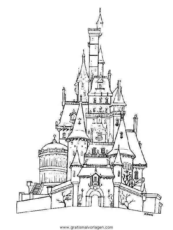 Die Schone Und Das Biest50in Trickfilmfiguren Gratis Malvorlagen Schlosszeichnung Malvorlagen Die Schone Und Das Biest
