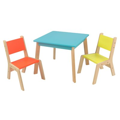 Kidkraft Modern Kid S 3 Piece Square Table And Chair Set Color Blue Orange Modern Table And Chairs Table And Chair Sets Toddler Table