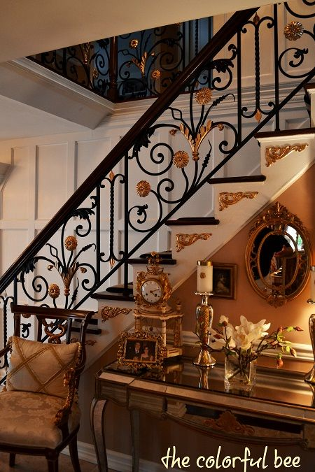 E Full Shot Of Gold And Wrought Iron Staircase Jpg 450 675 Pixels Iron Staircase Stair Railing Design Staircase Railing Design