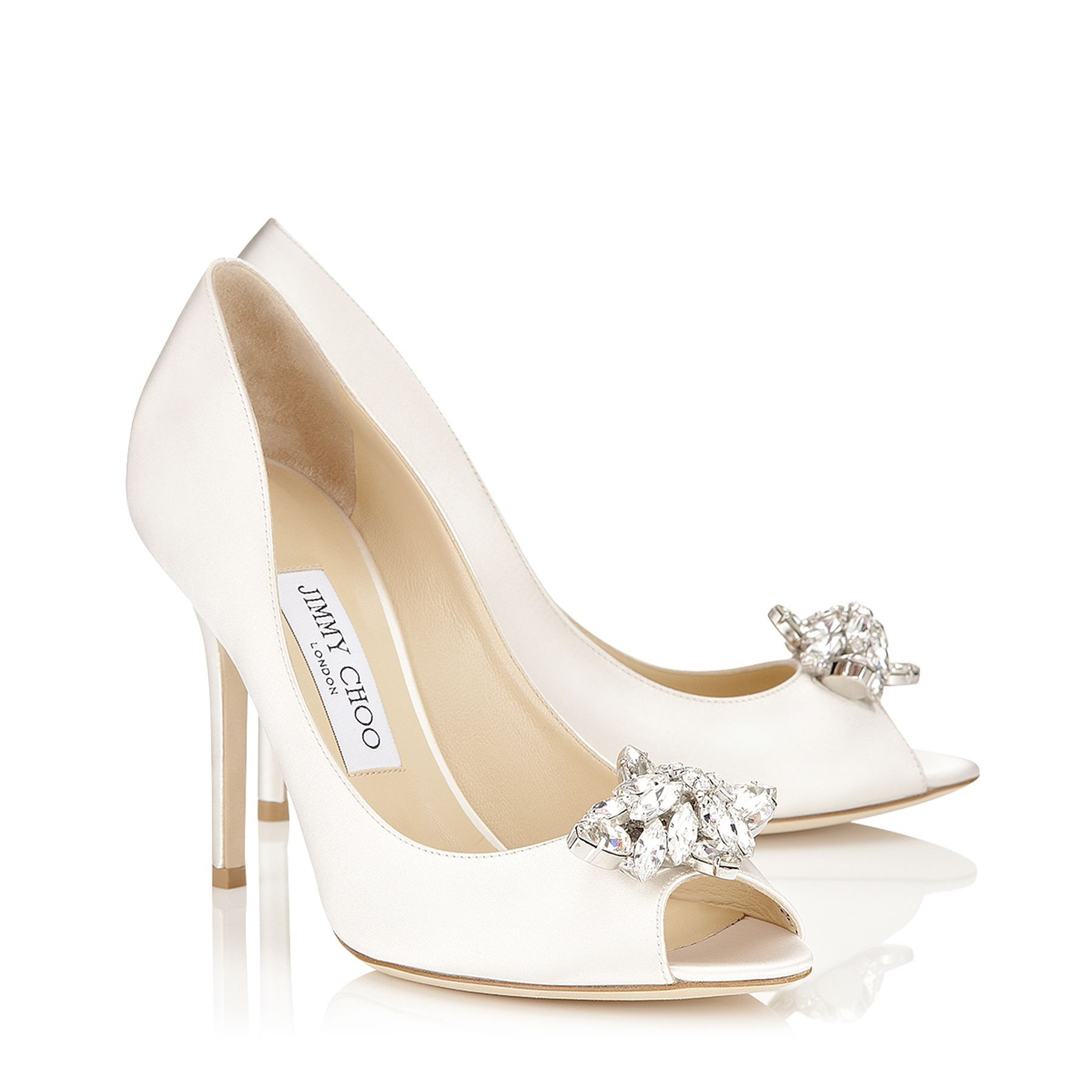 Ivory Silk Satin Peep Toe Pumps With Crystal Detail Mia Bridal Collection Jimmy Choo Women Sale Bride Shoes Bridal Shoes Glam Sandals