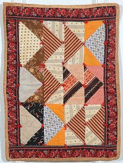 Triangles Doll Quilt - 1880's - Pennsylvania.