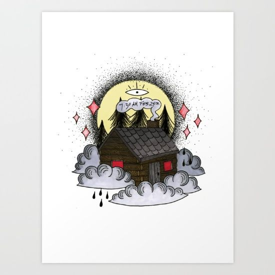 twin peaks cabin Art Print by Bunny Miele | Society6