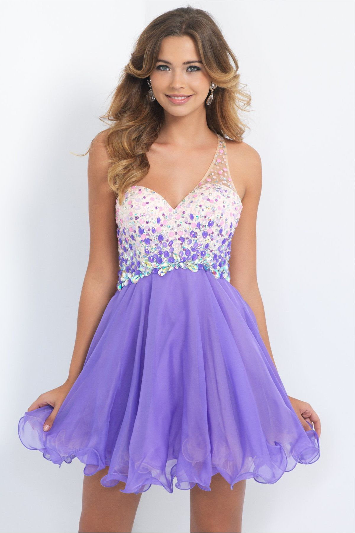 Violet Chiffon A Line Homecoming Dresses 2015 One Shoulder ...