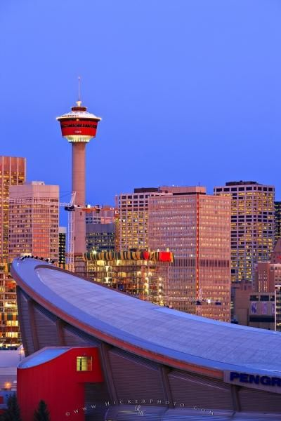 Picture Of The Saddledome Standing Before The Calgary Tower