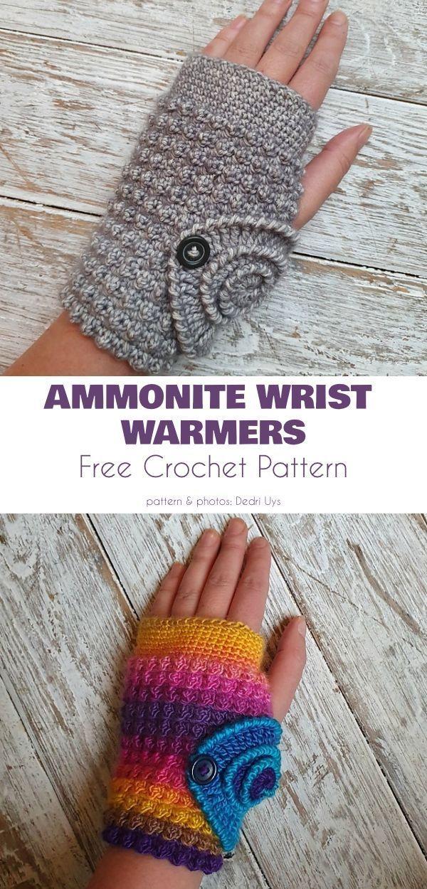 Photo of #Beautiful #CROCHET #Fingerless #Free #Patterns Ammonite Wrist Warmers Free Croc …