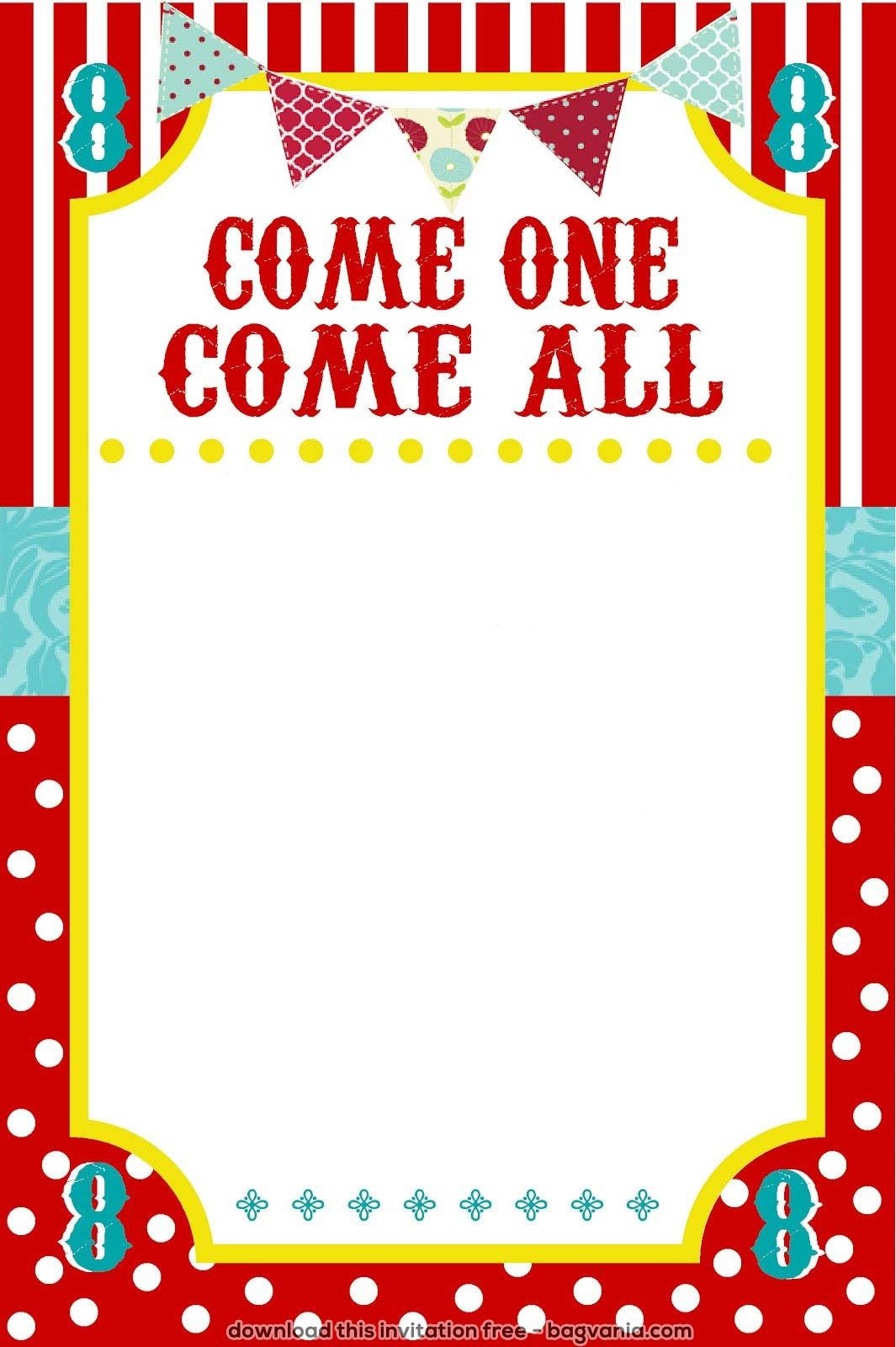 Cool FREE Carnival Birthday Invitations