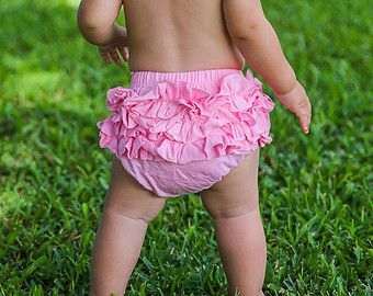 Pink Ruffle Back Bloomer and Headband Baby Flower by BySophiaBaby