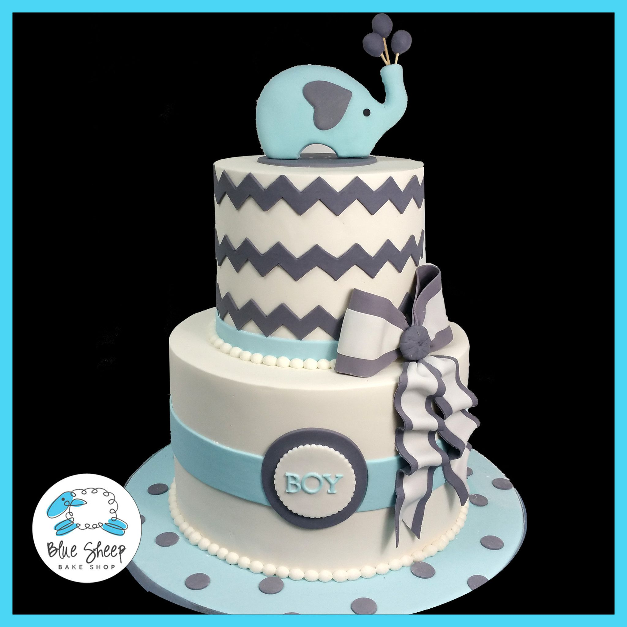 Elephant and Chevron Baby Shower Cake II – Blue Sheep Bake Shop