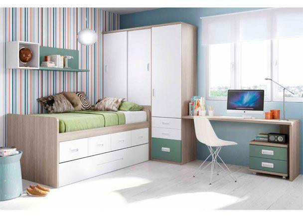 Juvenil con compacto de 2 camas y escritorio novedades for Habitacion juvenil 2 camas