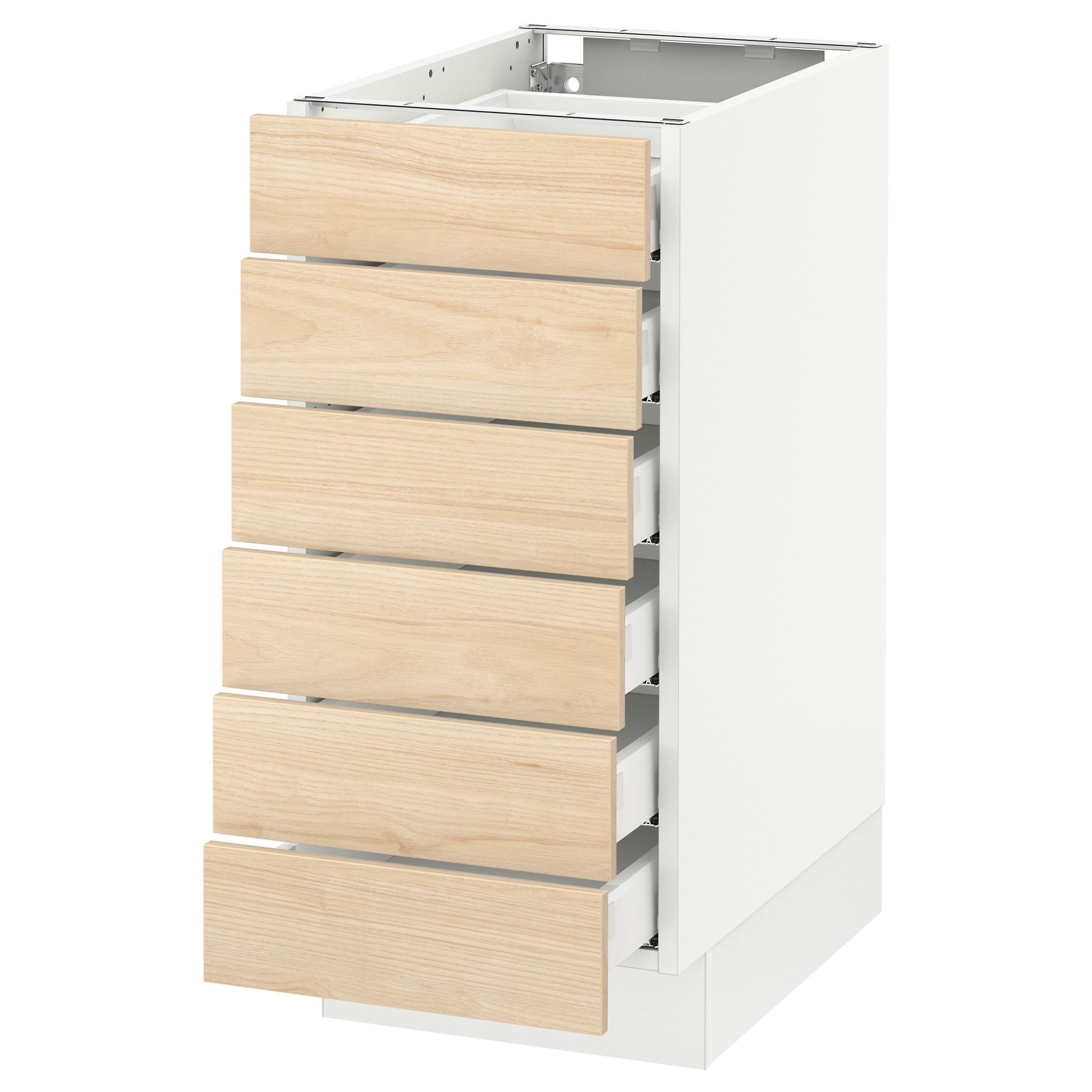 Sektion Base Cabinet 6 Fronts 6 Low Drawers White Maximera Askersund Ash Light Ash Effect 15x24x30 Ikea Base Cabinets Ikea Sektion Ikea
