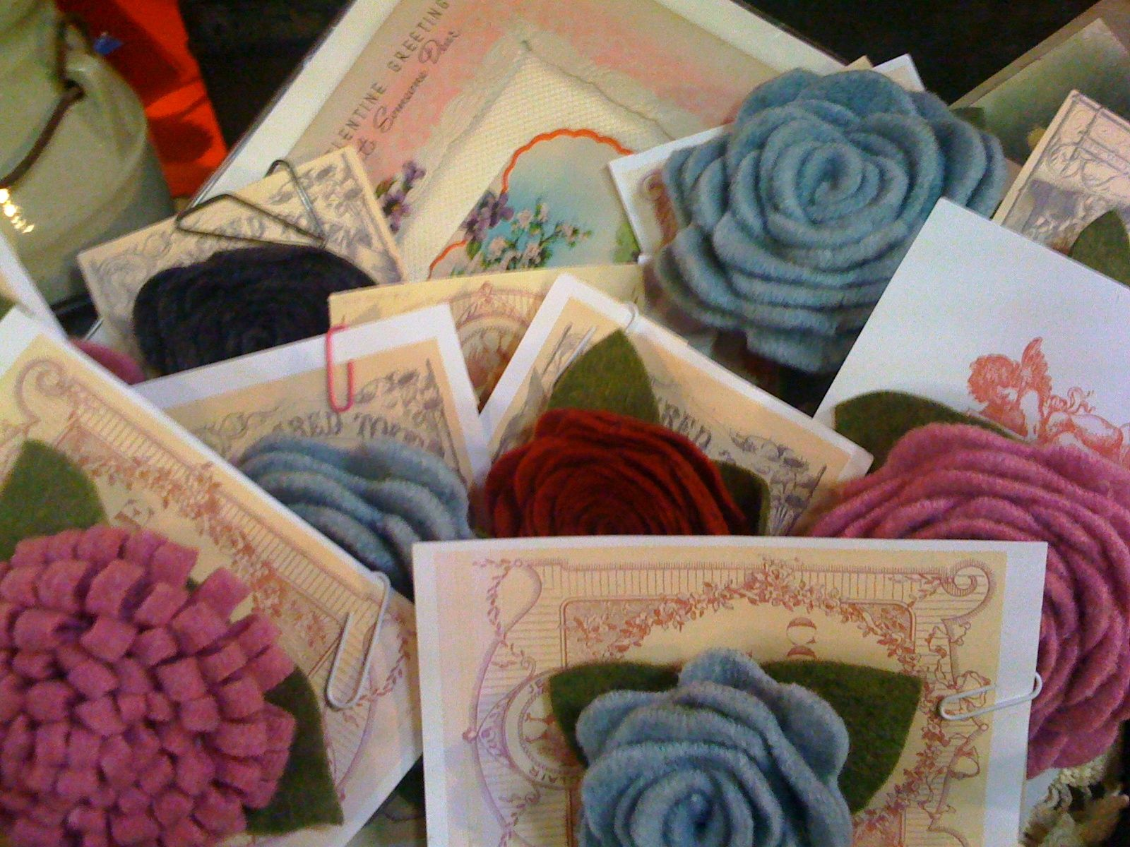 Need a flower to perk you up? Recycled sweater flower pins....