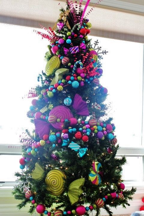 Pink Whimsical Colorful Christmas Candy Christmas Tree Colorful Christmas Tree Cool Christmas Trees
