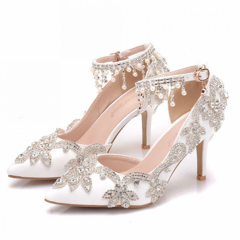 Elegant White Wedding Shoes 2018 Rhinestone Pearl Tassel 8 Cm Stiletto Heels Pointed Toe Wedding High Heels Stiletto Heels Wedding High Heels White Wedding Shoes