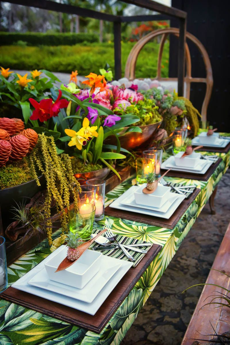 tropical wedding reception decorations how to tropical table decor tablescab 8087