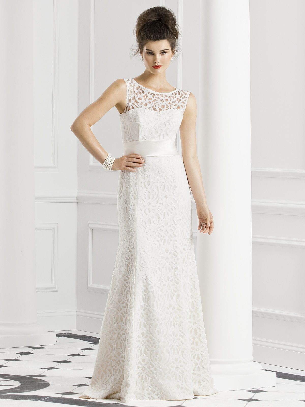 Sleeveless modern lace dress with matte satin sash