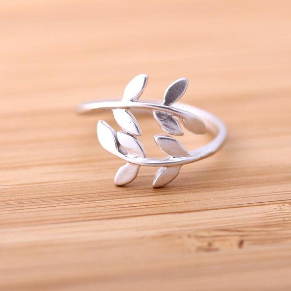 leaf ring, adjustable in silver