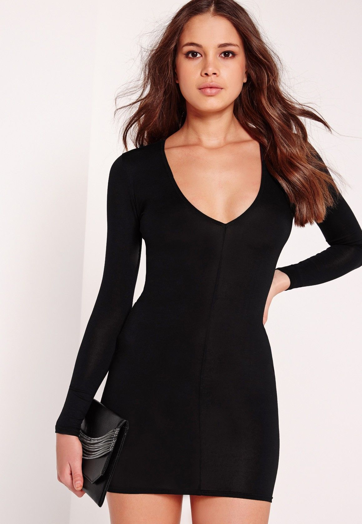 Missguided Plunge Long Sleeve Bodycon Dress Black Black Bodycon Dress Long Sleeve Long Sleeve Cocktail Dress Long Sleeve Plunge Dress