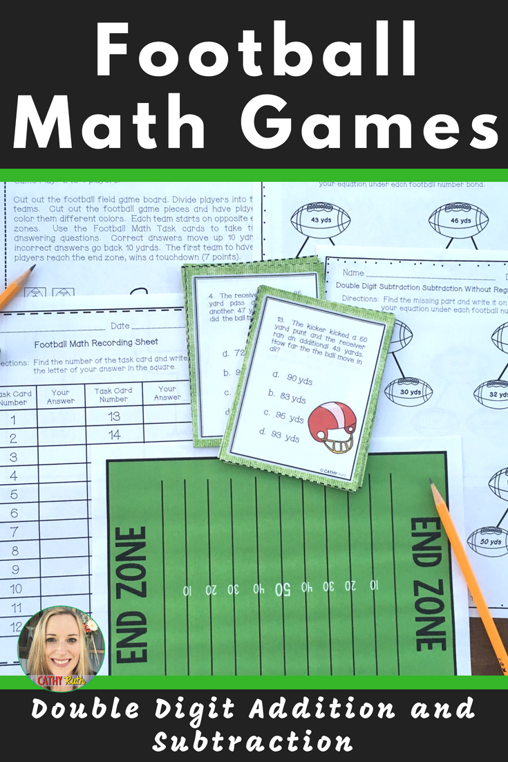 Football Games Double Digit Add Subtract Games And Board Super Bowl Math Review Game Math Fall Classroom Ideas [ 1102 x 735 Pixel ]