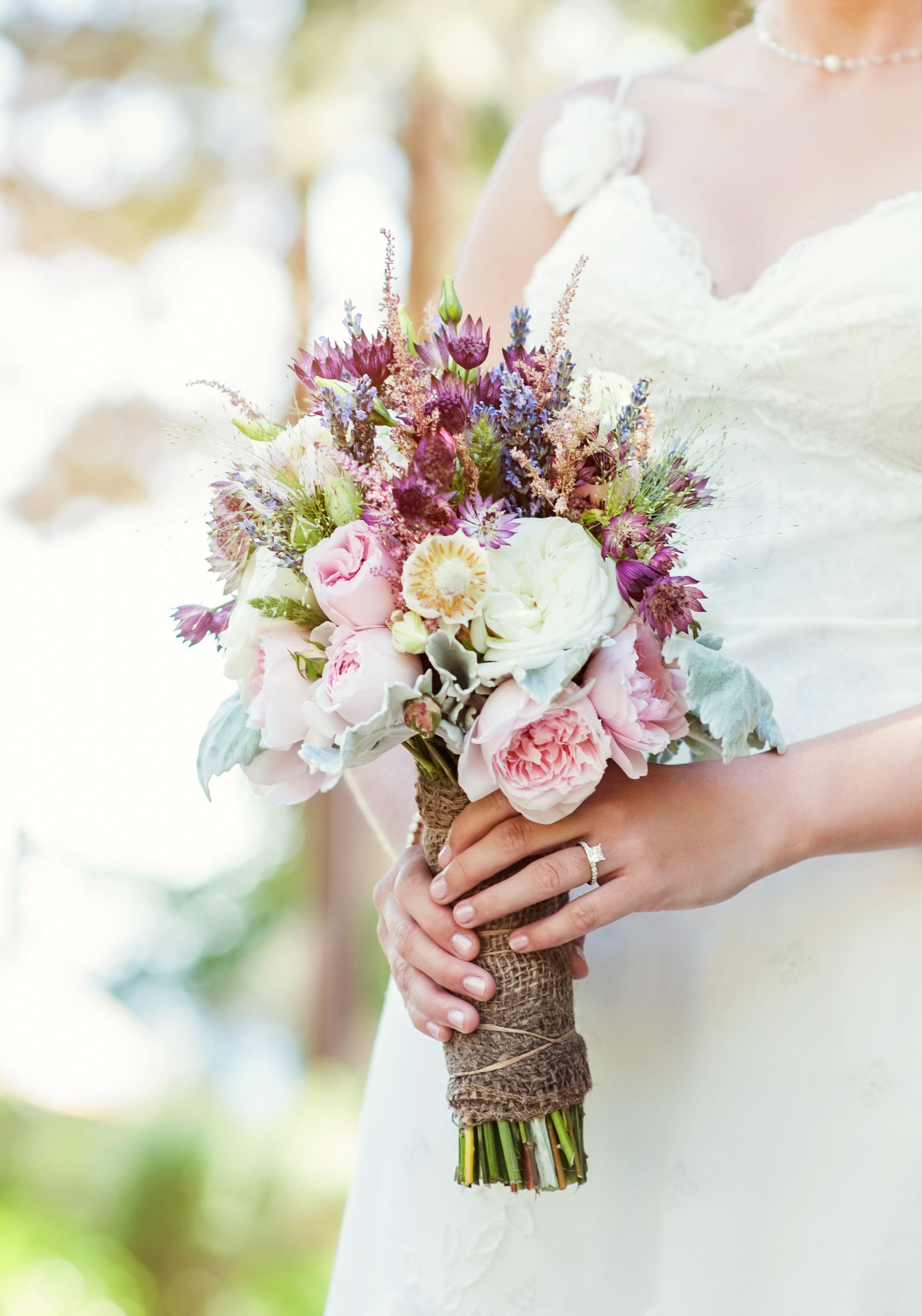 Natural Lavender And Astilbe Wildflower Bridal Bouquet Purple Wedding Bouquets Wildflower Bridal Bouquets Bridal Bouquet Green