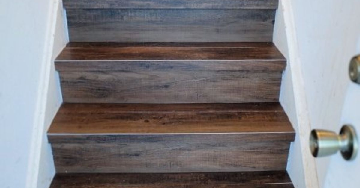 DIY Faux Wood Tile Stairs On a Budget Peel, stick wood