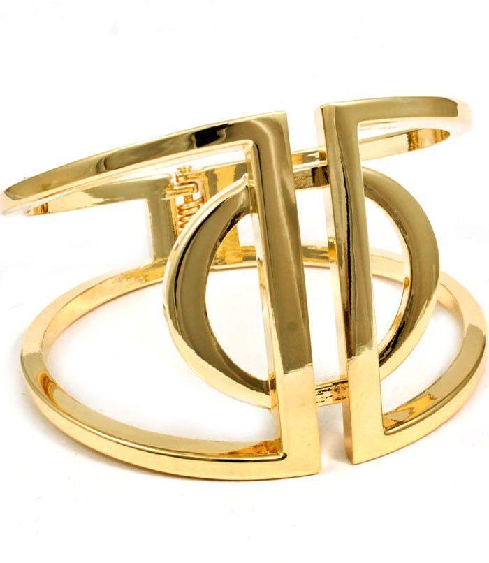 Gold Tone Metal Hinged Cuff Bracelet
