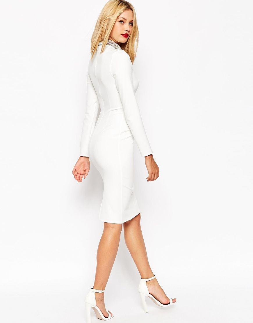 Asos Long Sleeve Embellished Collar Midi Dress in White   Lyst ...
