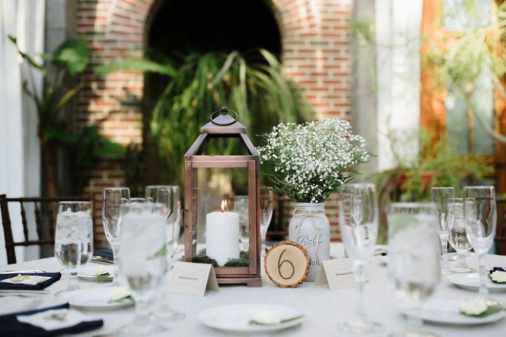 Lanterns and rustic wood table numbers are perfect accents at Tower Hill. Photo Credit: Janelle Carmela Photography