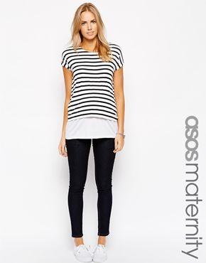 Enlarge ASOS Maternity NURSING Stripe T-Shirt With Double Layer ... 6c600cff5