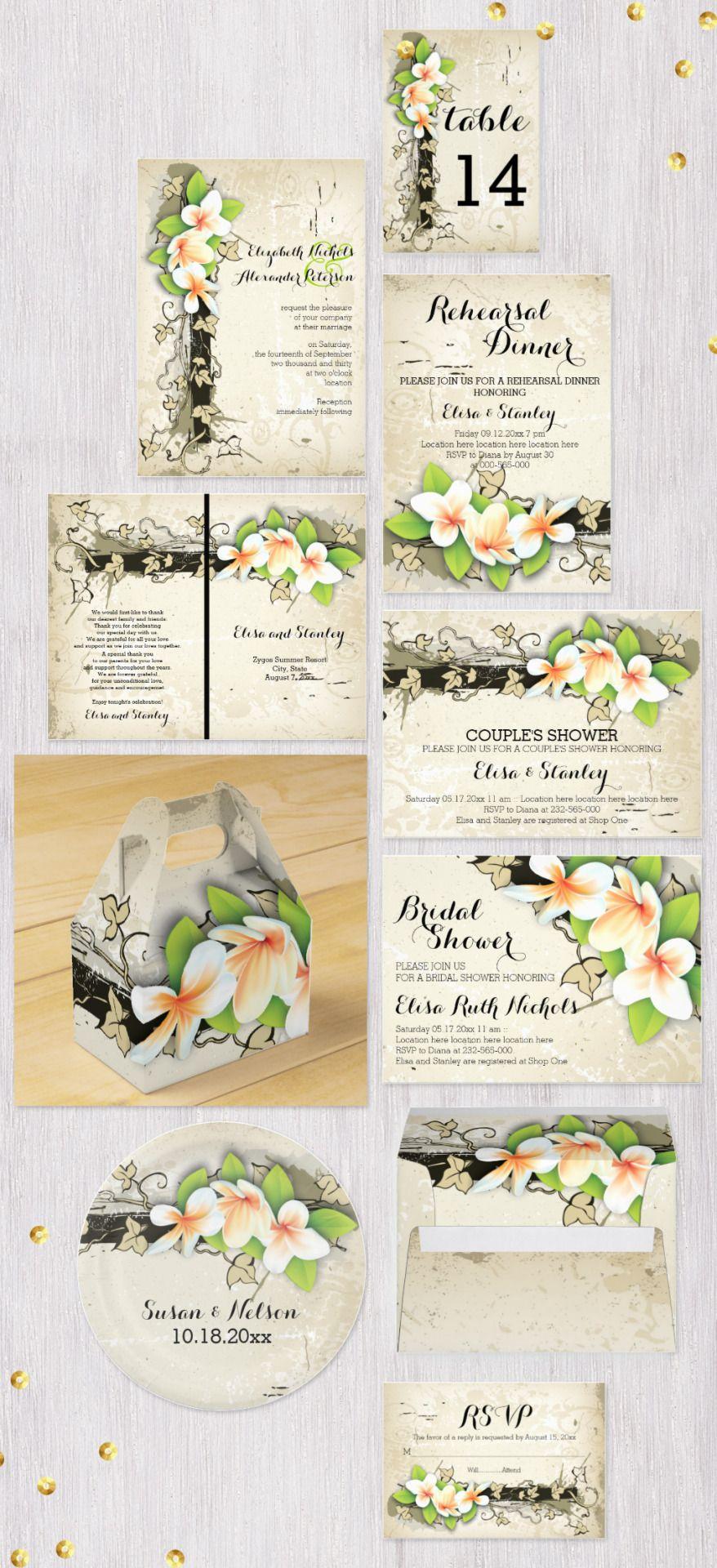 Vintage Plumeria Or Frangipani And Ivy Custom Beige Wedding