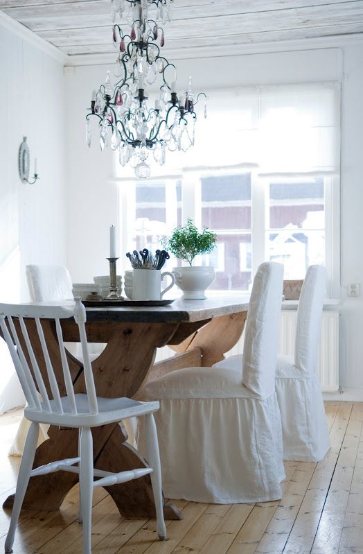 Henriksdal Chair Covers Loose Fit Country Style With Frills In Soft White Rosendal Pure Washed Linen Bemz
