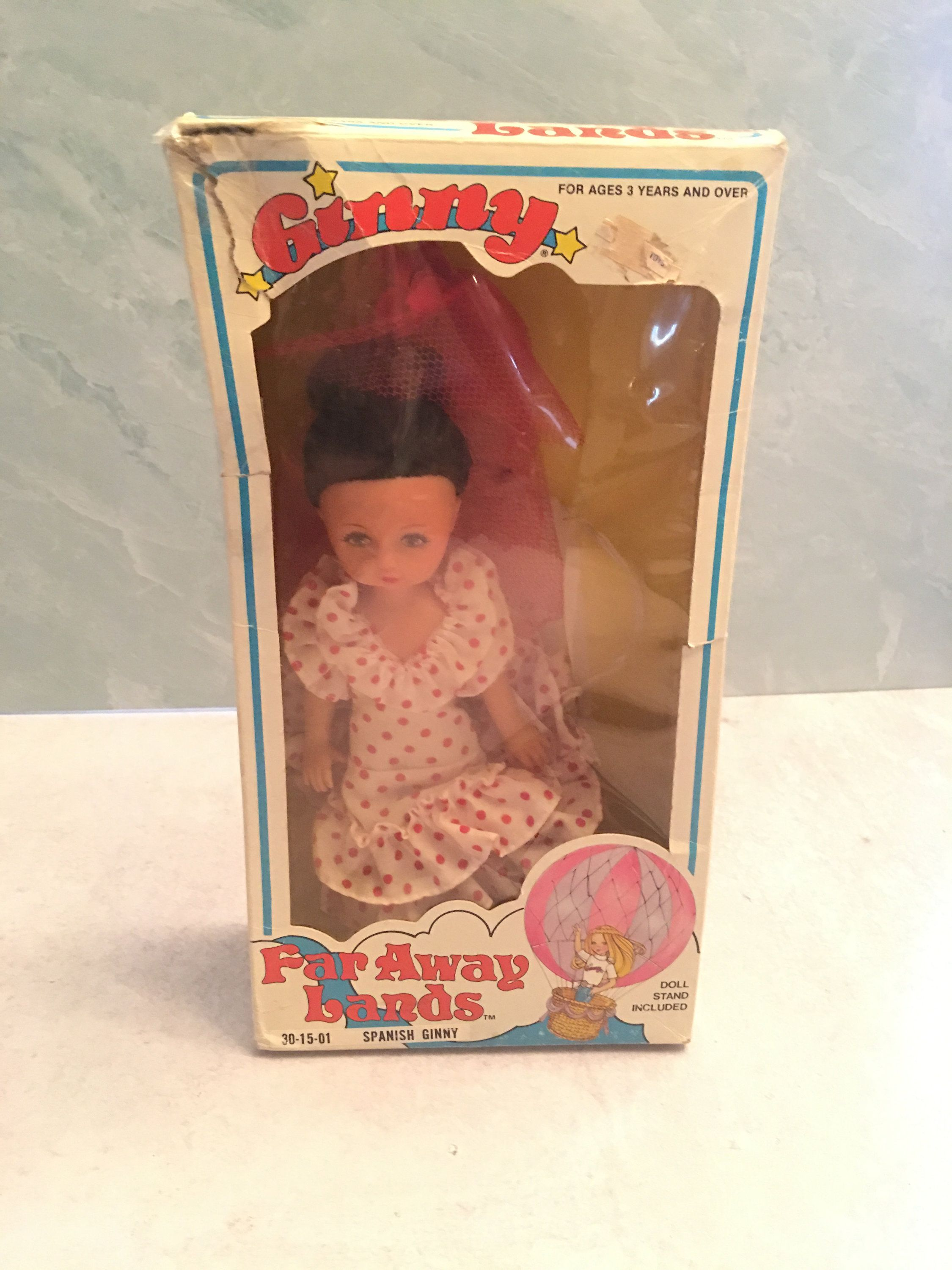 Vintage 1982 Ginny Vogue Spanish Doll Far away lands with box and doll stand 8 Poseable polka dot dress #spanishdolls