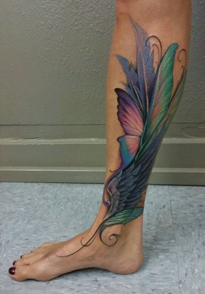 Gosh This Is Stunning Feather Tattoos Calf Tattoos For Women