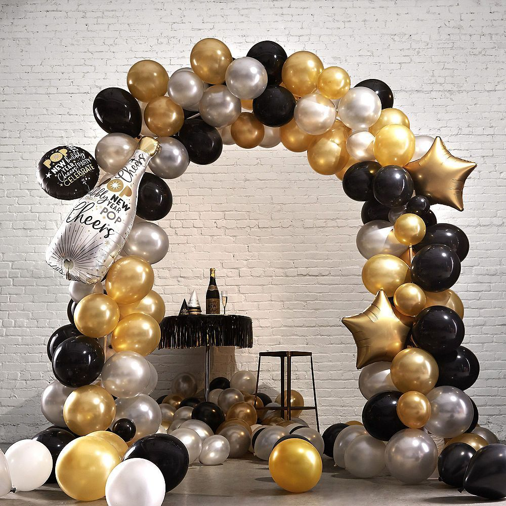 Black Gold Silver New Year S Eve Balloon Arch Kit Gold Party