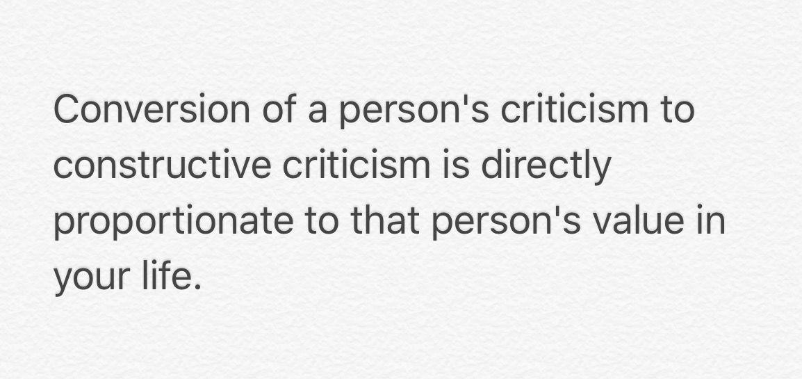 Take criticisms as critical to improvement