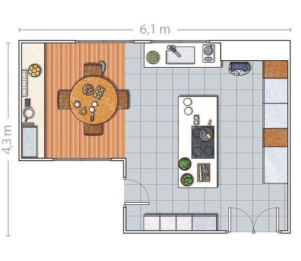 Cocina con isla planta buscar con google ideas para el for Cocina plano arquitectonico