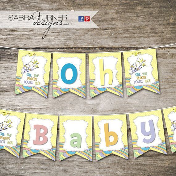 INSTANT DOWNLOAD  Dr Seuss Baby Shower Banner  Oh the Places Youll Go Baby Shower  Dr S INSTANT DOWNLOAD  Dr Seuss Baby Shower Banner  Oh the Places Youll Go Baby Shower...